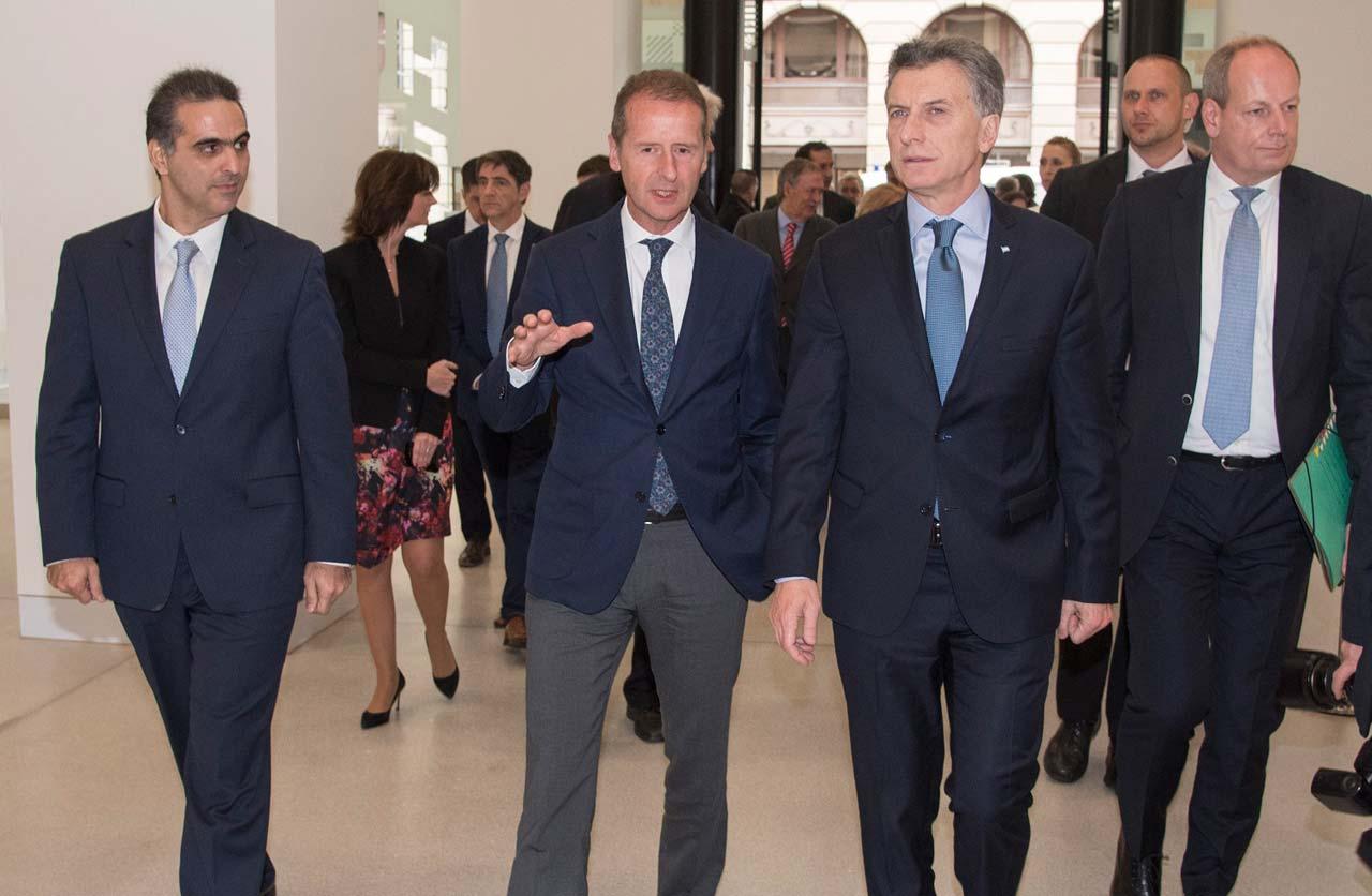 Pablo Di Si, Herbert Diess y Mauricio Macri