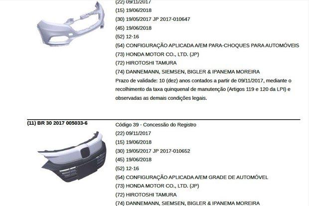 patente INPI Honda HR-V