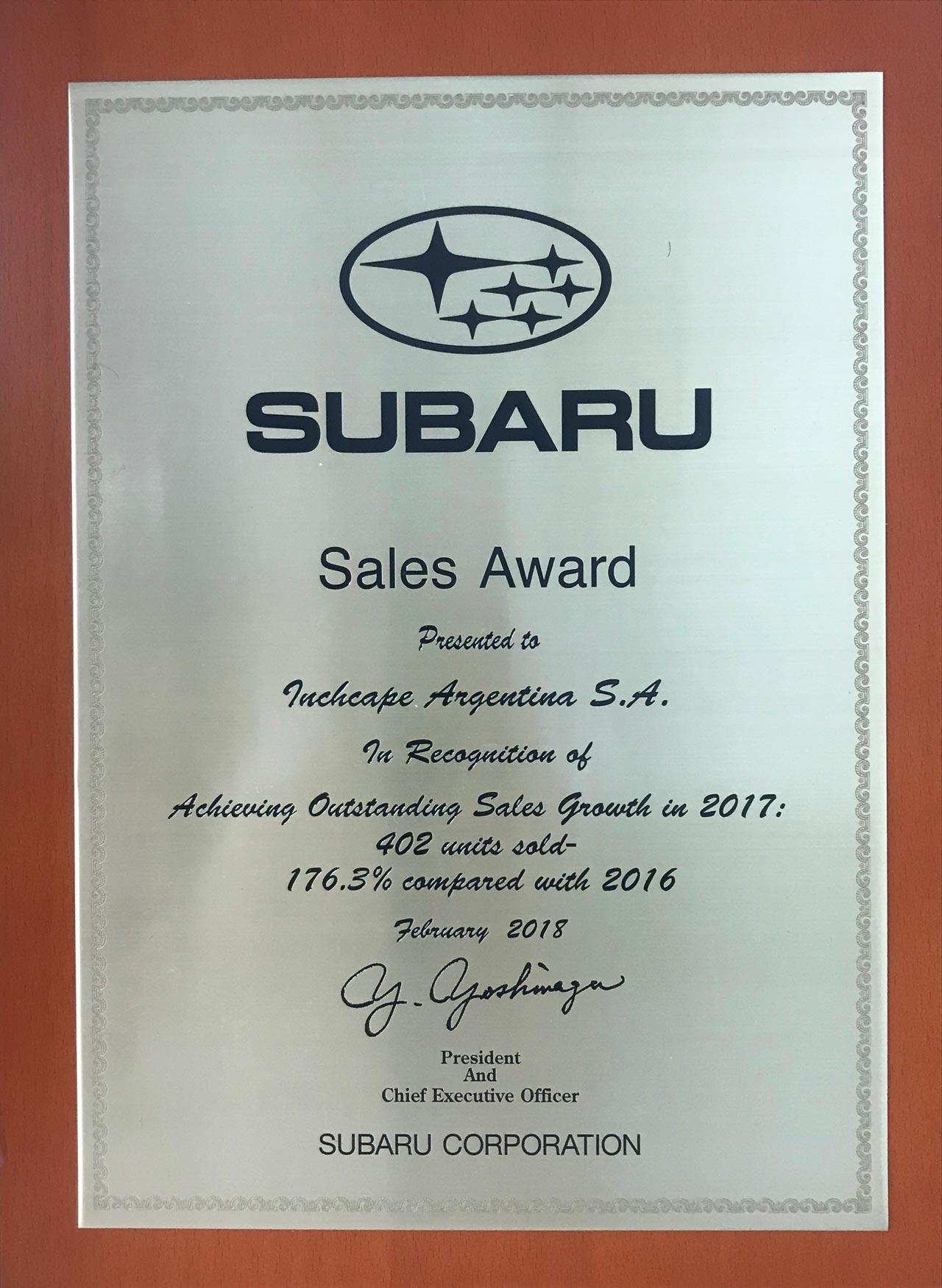 Subaru Argentina, Sales Award