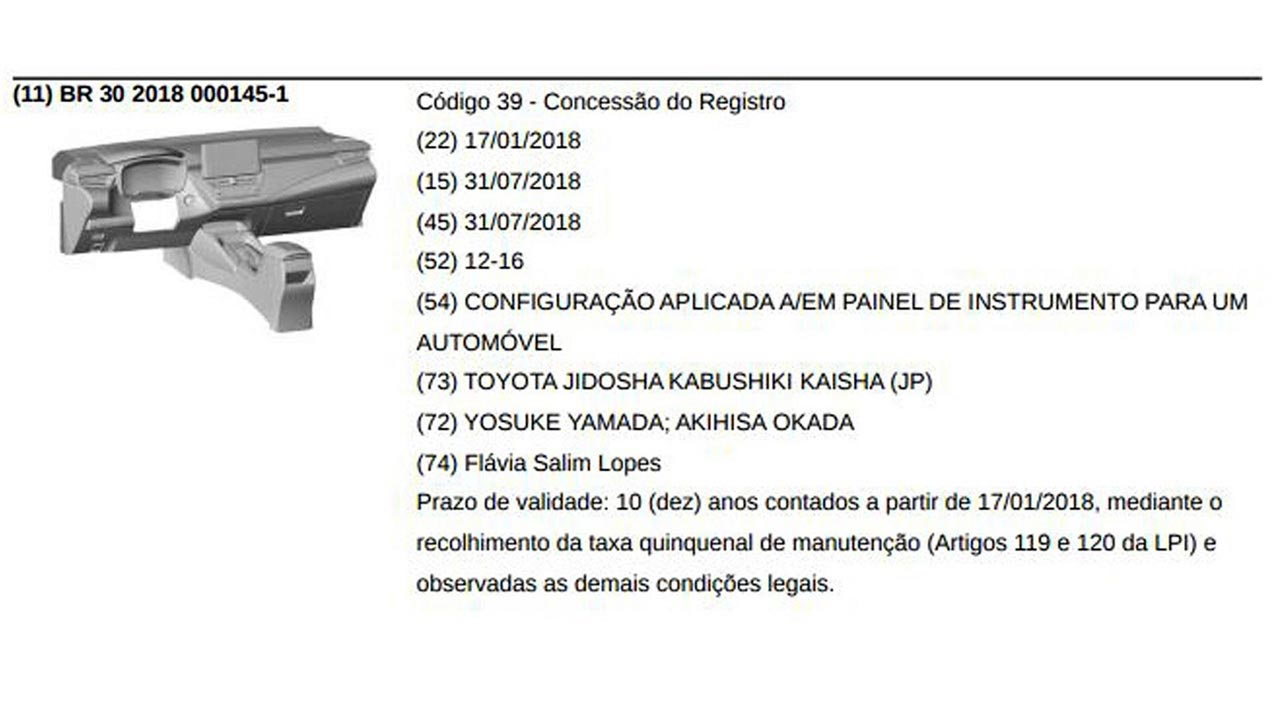 Interior Toyota Corolla Brasil inpi