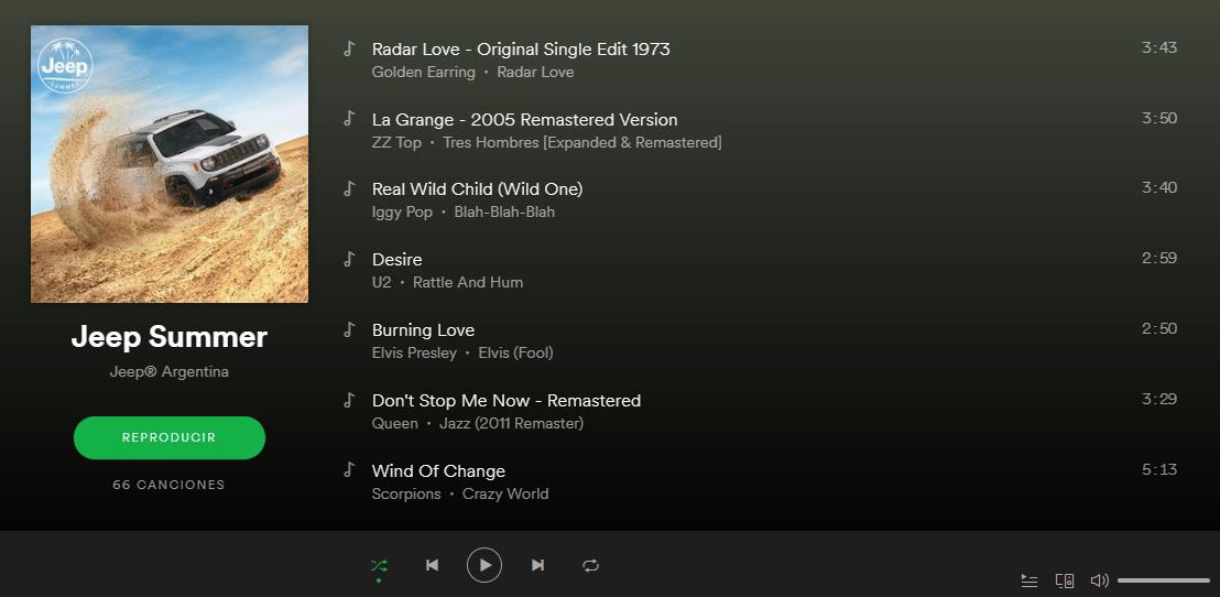 Playlist Jeep en Spotify