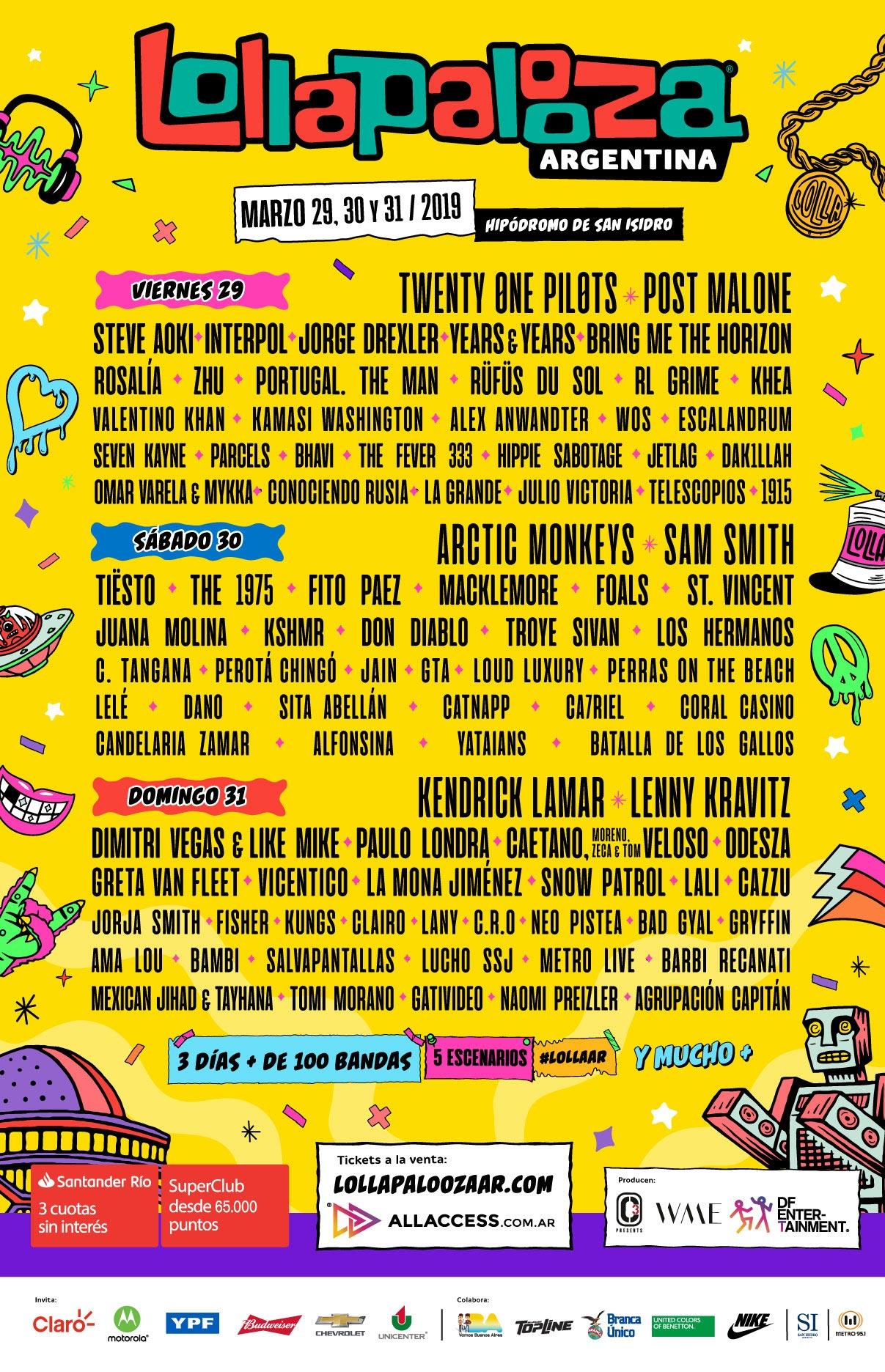 Line up Lollapalooza Argentina 2019