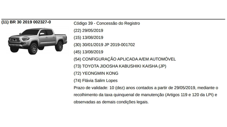 Toyota Tacoma 2020 registro INPI Brasil