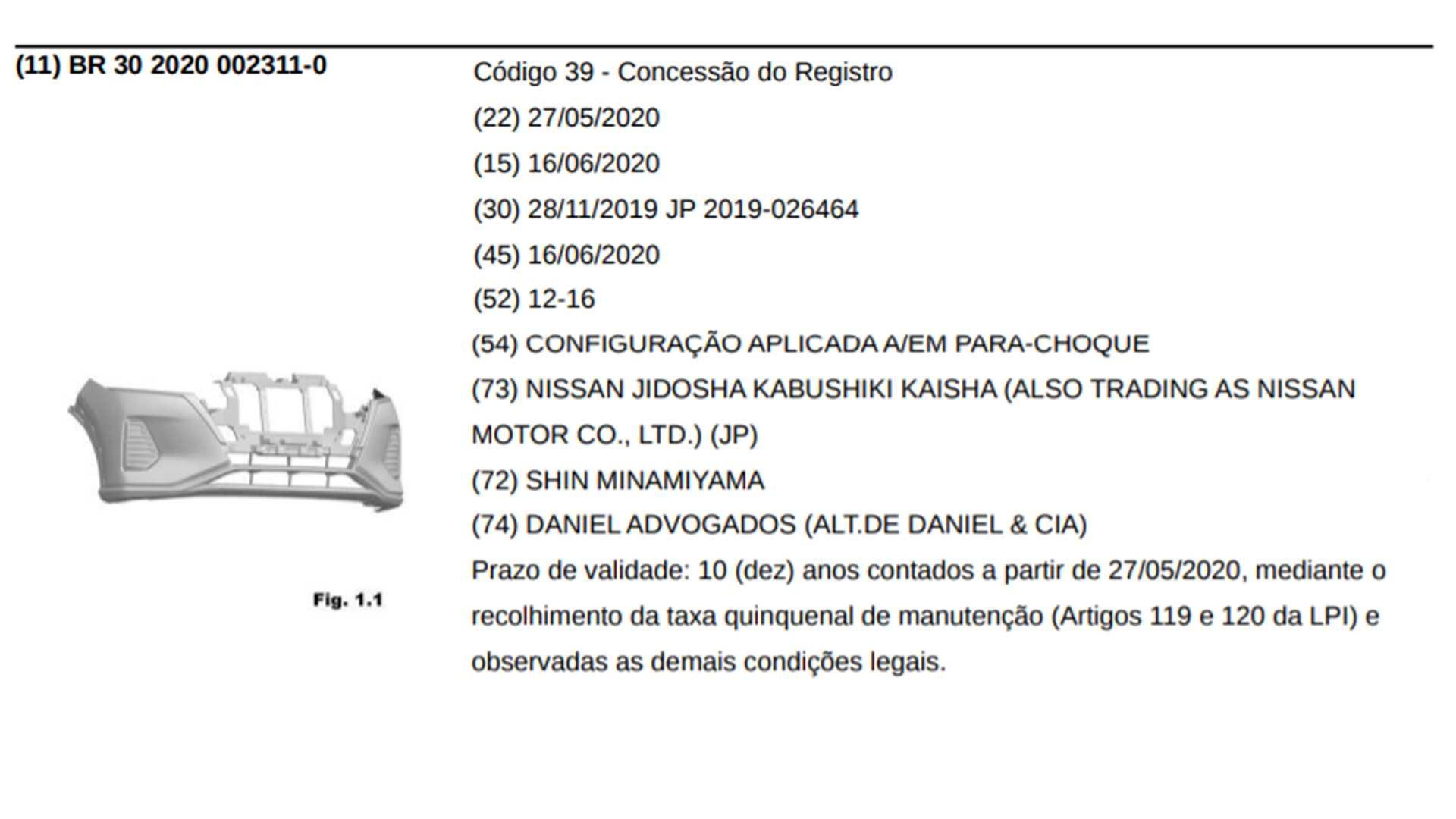 Nuevo Nissan Kicks 2021 registro INPI Brasil