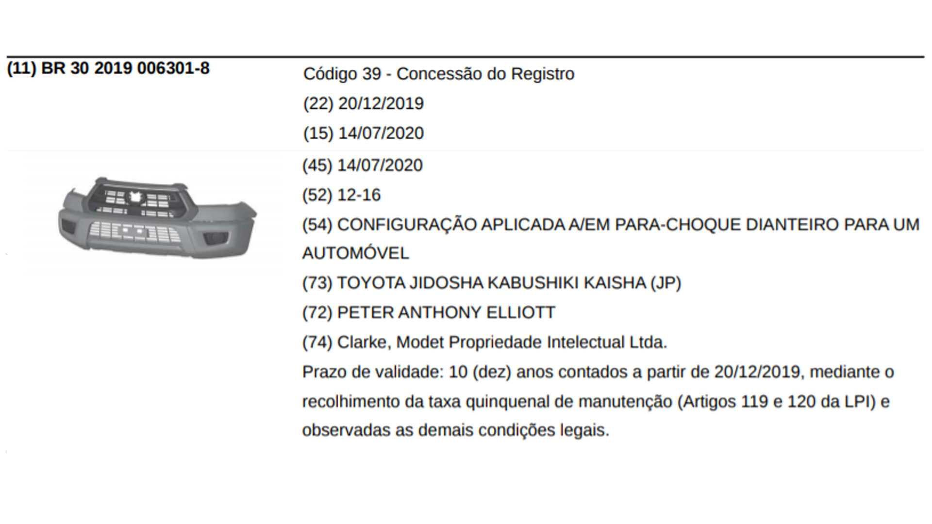 Nueva Toyota Hilux 2021 registro Brasil