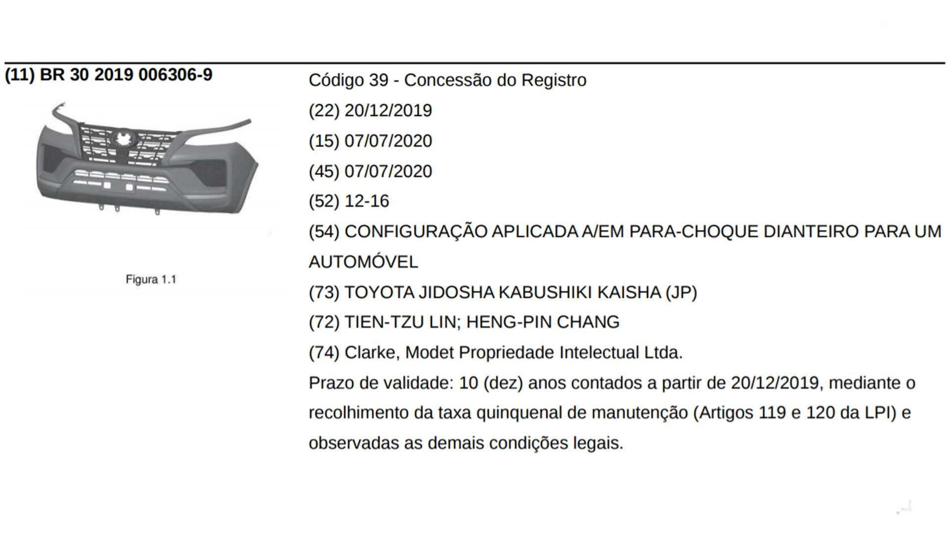 Toyota SW4 registro INPI Brasil