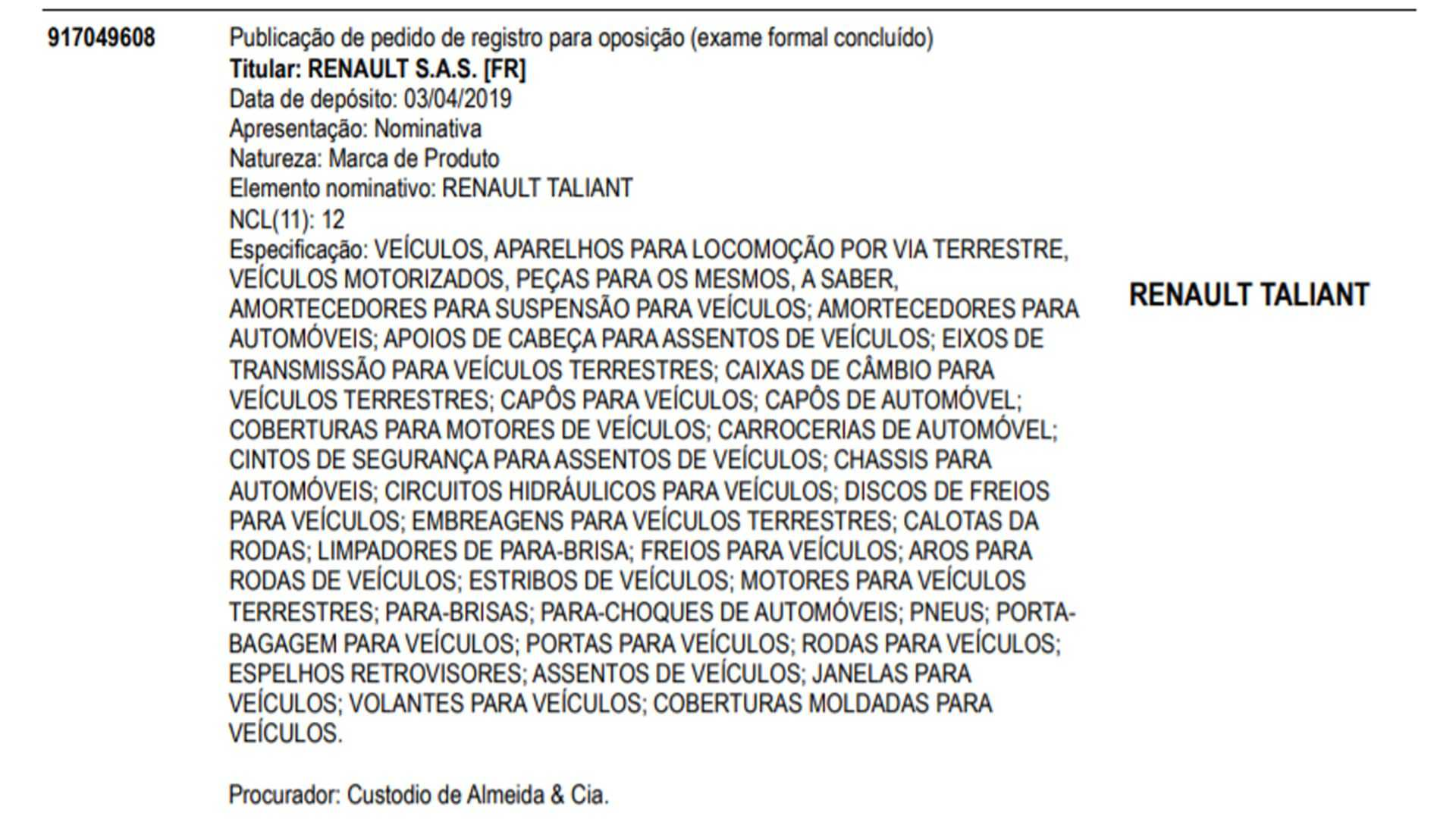 Renault Taliant patente características